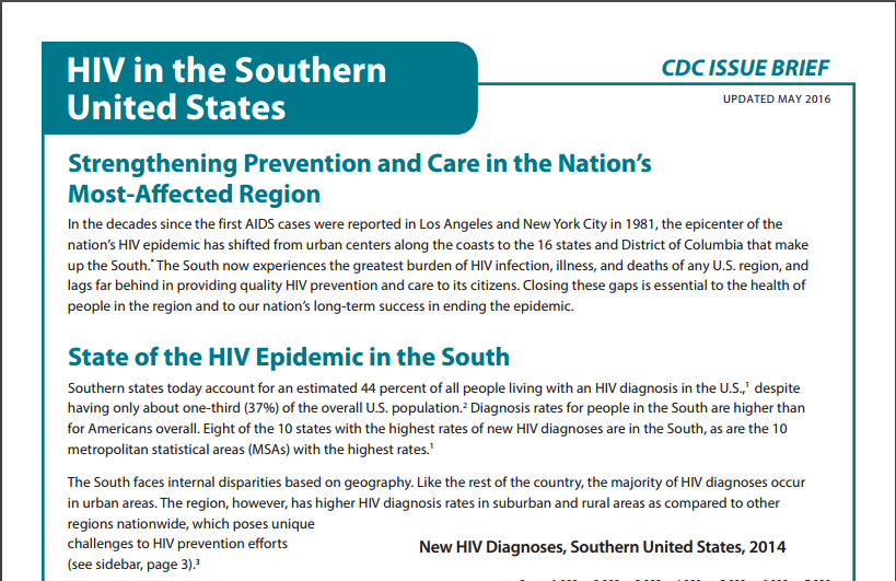 CDC HIV in the South Issue Brief
