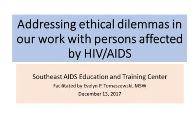 Webinar: Addressing ethical dilemmas in our work with persons affected by HIV/AIDS